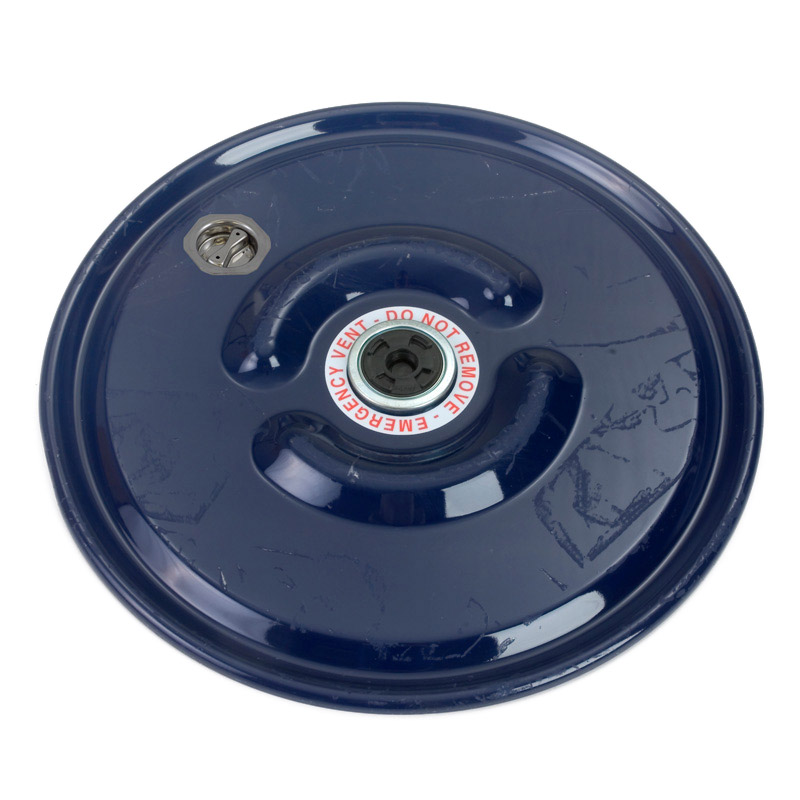 34701381 22 5/16in Carbon Steel Raised Bumpy Lid - 2in Rieke Vent - 2in Bung Fitting - EPDM Gasket (Painted Blue)