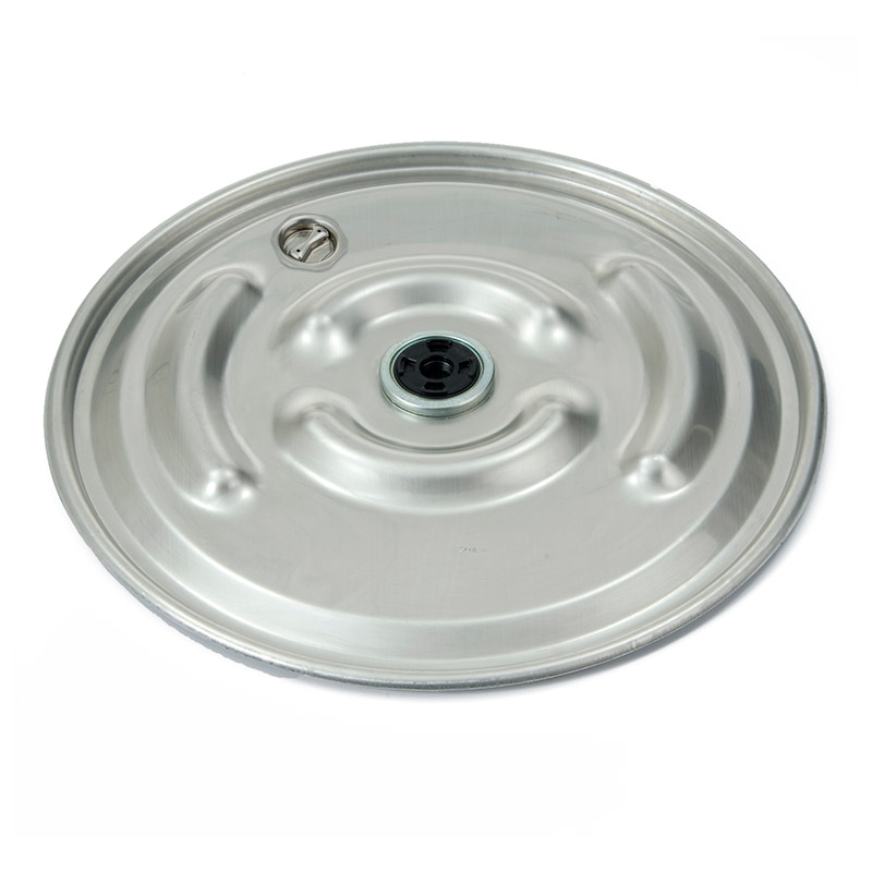 35901620 22 5/16in 304 SS Raised Bumpy Lid - 2in Rieke Vent - 2in Bung Fitting - EPDM Gasket